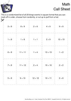 Math Bingo Cards - 25 Unique Pages