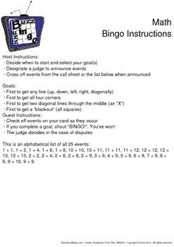 Math Bingo Cards - 50 Unique Pages