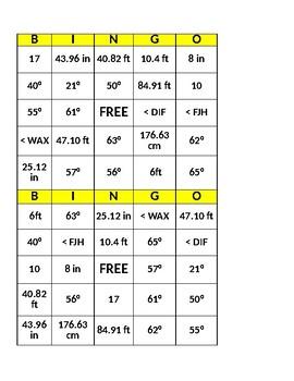 Math Bingo - Circumference, Diameter, Area, Angles