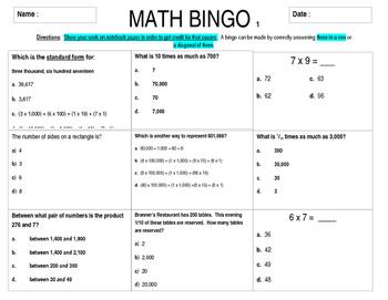 Math Bingo Common Core Math Sampler