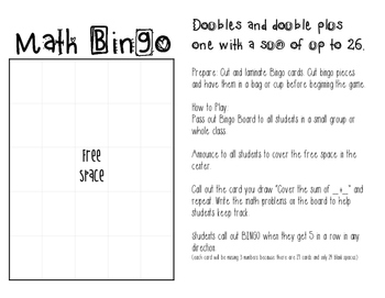 Math Bingo - Double and Double Plus One