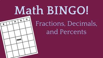 Math Bingo - Fractions, Decimals, and Percents