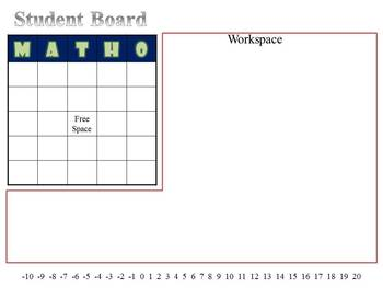 Math Bingo Game - Linear Equations, Slope and Intercepts