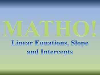 Math Bingo Game - Linear Equations, Slope and Intercepts