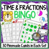 Math Bingo Games, Fractions & Time