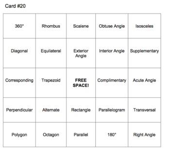 Math Bingo - Geometry Terms