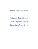 Math Bingo - Integer Operations, 1-Step equations, 2-Step equations, Multi-Step