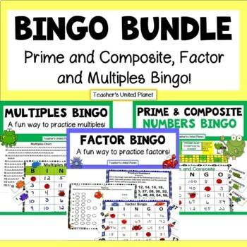Math Bingo Bundle! Prime and Composite, Factor and Multiples Bingo