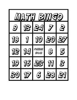 Math Bingo Multiplication Addition 1 through 30