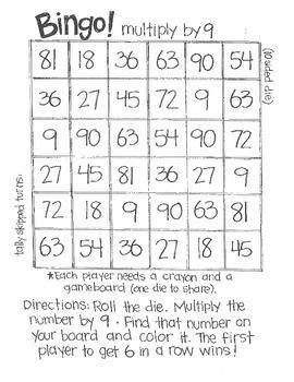 Math Bingo:  Multiplication (using 10 & 12 sided dice)