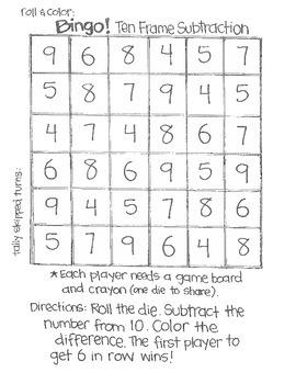 Math Bingo: SUBTRACTION (using 6 sided dice)