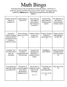 Math Bingo Scavenger Hunt