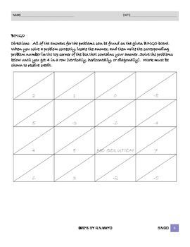 Math Bingo - Solving Multi-Step Linear Equations