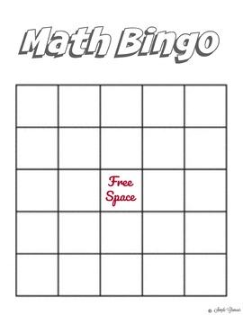 Math Bingo Template