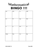 Math Bingo Template 4x4 = 16 Problems
