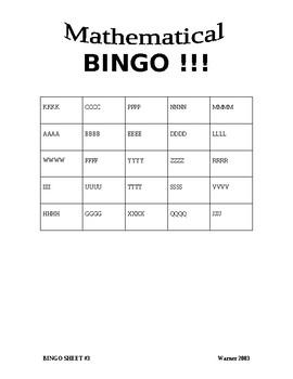 Math Bingo Template 5 x 5 = 25 Problems