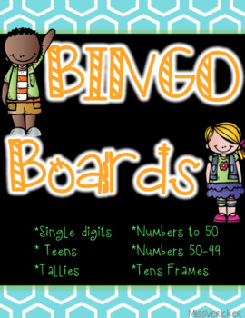 Math Bingo! Tens Frames, Number Recognition, Tally Marks, Teens, Decades