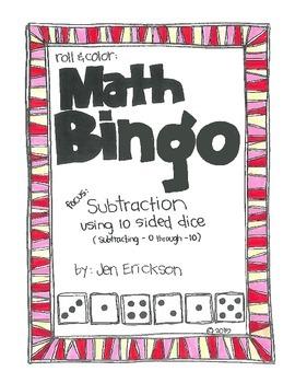 Math Bingo:SUBTRACTION (using 10 sided dice)