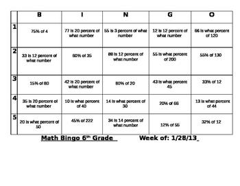 Math Bingo_ Percent of a Number