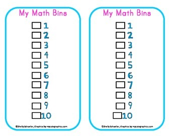 Math Bins Choice Cards