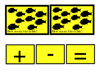 Math Black Fish Addition Numbers to 10 Plus Minus Equals Emergent Reader Cards