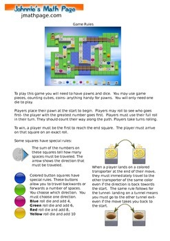 Math Board Game 5 from Johnnie's Math Page