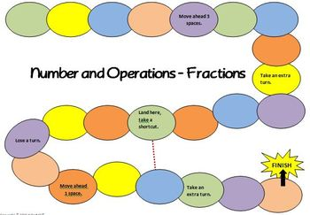 Math Board Game 5th Grade - Number and Operations - Fractions (5.NF)