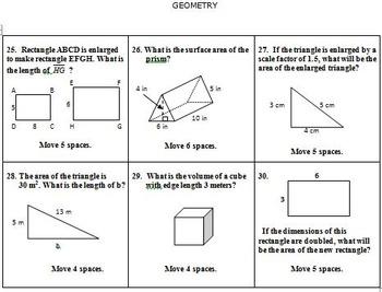 Math Board Game 7th Grade - Geometry (7.G)