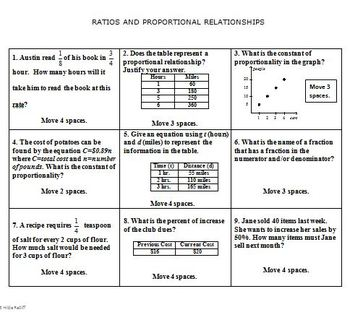Math Board Game 7th Grade  - Ratios and Proportional Relationships (7.RP)