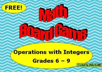 Math Board Game - Integers - Grades 6 - 9