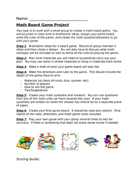 Math Board Game Project By Ashley Yaskis Teachers Pay Teachers - Board game design document