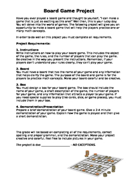 Math Board Game Project (Editable)