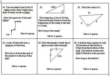 Math Board Game - Pythagorean Theorem