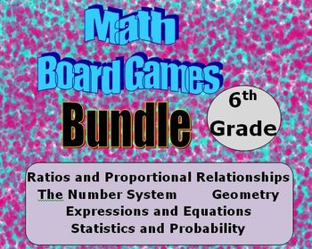 Math Board Games Bundle - 6th Grade - (6.RP) (6.NS) (6.EE)