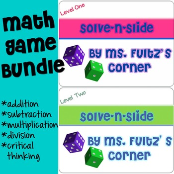 Multiplication, Division, Addition, & Subtraction: Math Game Task Cards BUNDLE