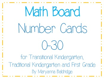 Math Board Number Cards 0-30