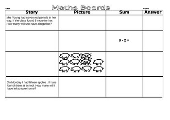 Math Boards addition and subtraction number stories
