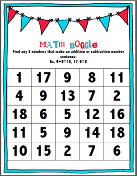 Math Boggle By Room 303 Teachers Pay Teachers