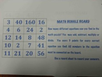 Math Boggle Gameboards, Set of 9, Full Color