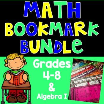 Math Bookmark Bundle - Grades 4-8 & Algebra I