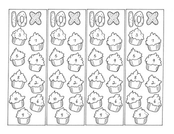 Math Bookmarks Multiplication Coloring Pages Ten Tables Cupcakes pdf