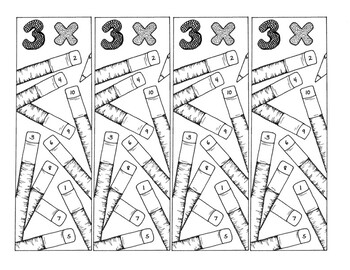 Math Bookmarks Multiplication Coloring Pages Three Tables Pencils pdf