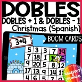 Math Boom Cards | Christmas Doubles | Doubles +1 | Doubles -1 | Spanish | Audio