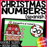 Math Boom Cards | Christmas Numbers | Google Slides | Kinder | Spanish | Audio
