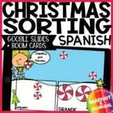 Math Boom Cards | Christmas Sorting | Google Slides | Spanish | Audio