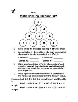 Math Bowling: Decimal Numbers
