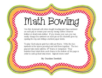 Math Bowling - Math Center to Practice Addition