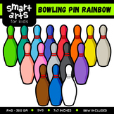 Math Bowling Pin Rainbow Clip Art
