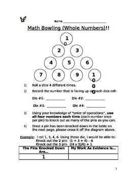 Math Bowling: Whole Numbers