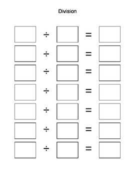Math Box Write In Addition Subtraction Multiplication Division
